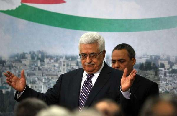Palestinian president Mahmud Abbas gestures after delivering a