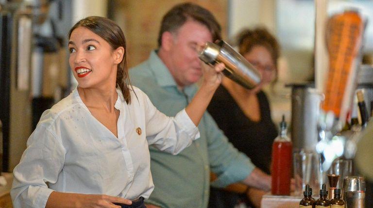 Rep. Alexandria Ocasio-Cortez (D-NY) returned to her bartending