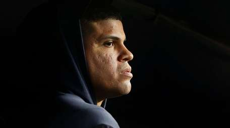 Dellin Betances of the Yankees looks on from