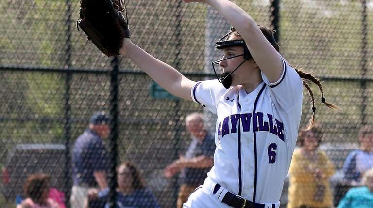 Sayville pitcher Maddie Recker delivers a pitch against