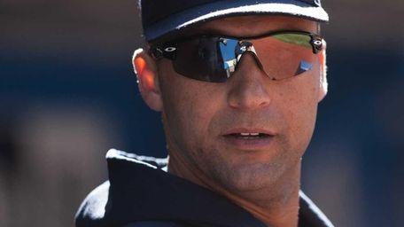 New York Yankees' Derek Jeter watches from the