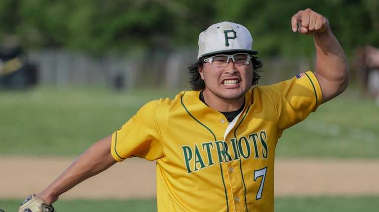 Max Nielsen of Ward Melville reacts after getting