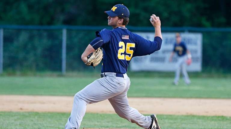 Bobby Conlon #25 of Massapequa pitches against Port