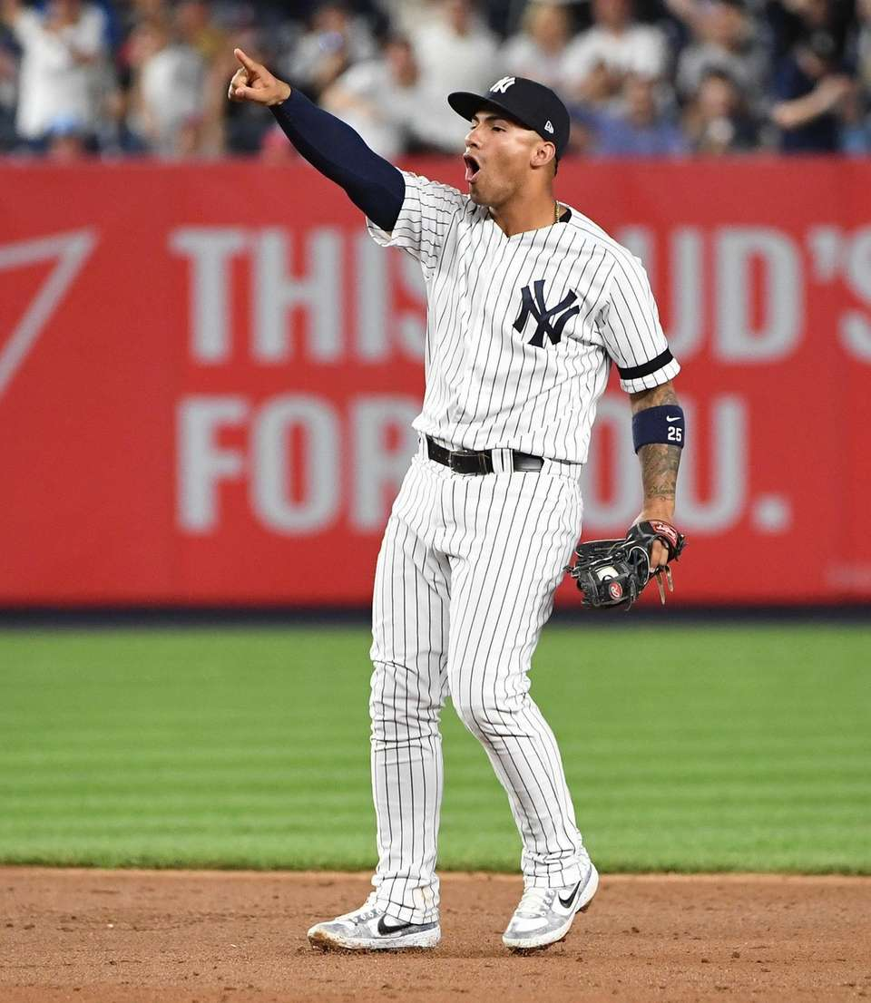 New York Yankees shortstop Gleyber Torres reacts after