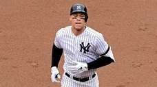 Aaron Judge of the Yankees hits a first-inning