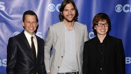 Jon Cryer, left, Ashton Kutcher and Angus T.