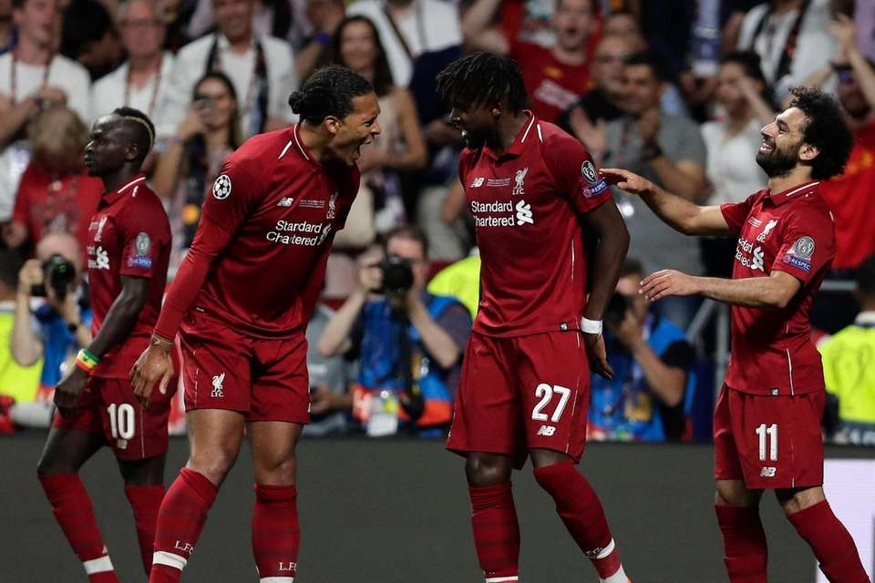 Liverpool's Divock Origi celebrates scoring his side's 2nd