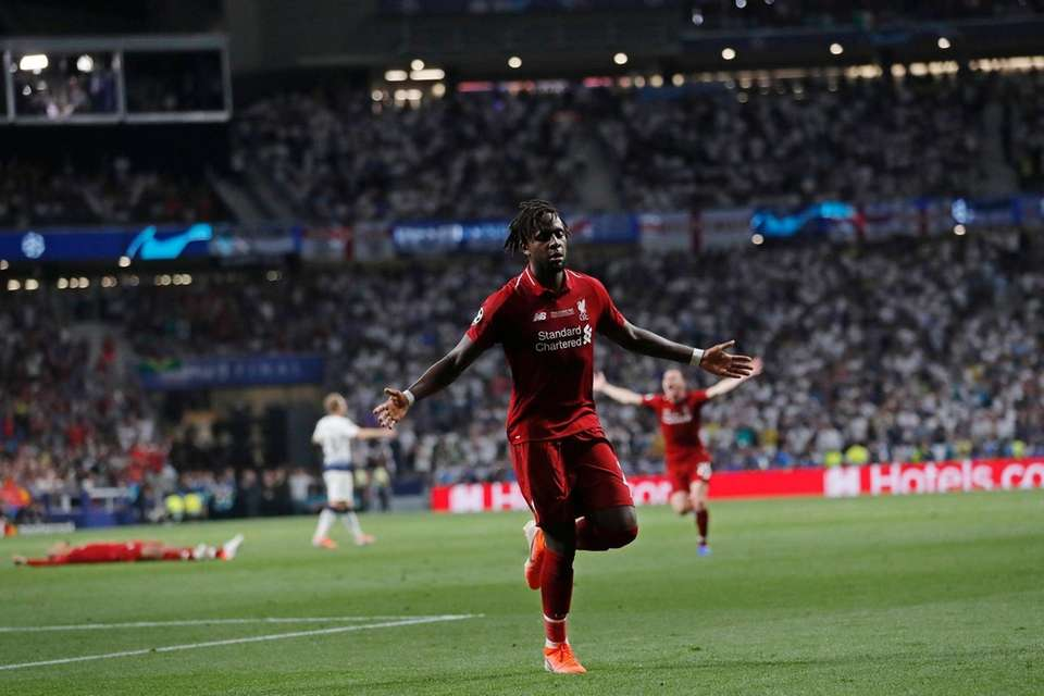 Liverpool's Divock Origi celebrates after scoring his side's