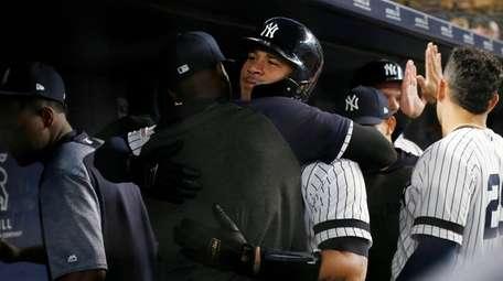 Gary Sanchez of the Yankees celebrates his fifth-inning