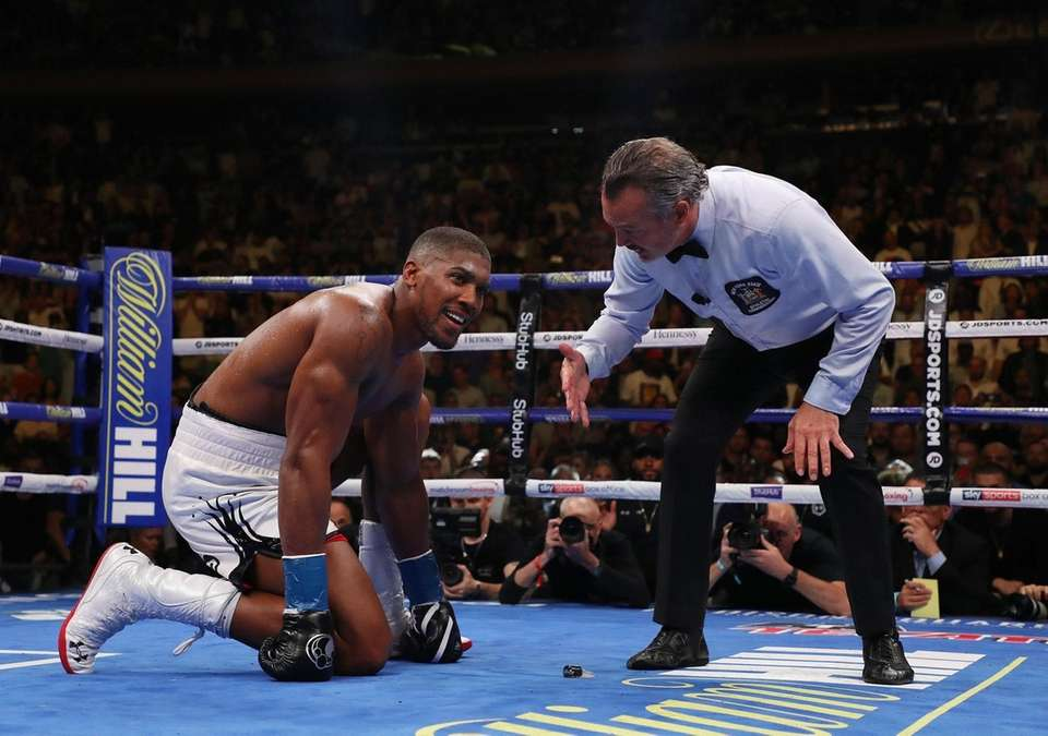 Andy Ruiz Jr. knocks down Anthony Joshua in