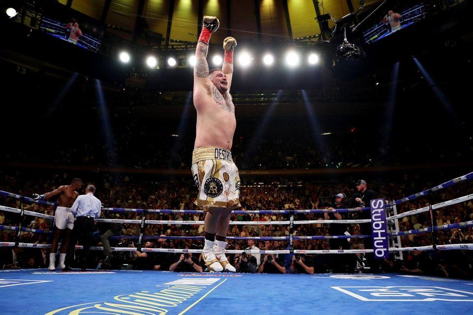 Andy Ruiz Jr. celebrates his seventh-round TKO against