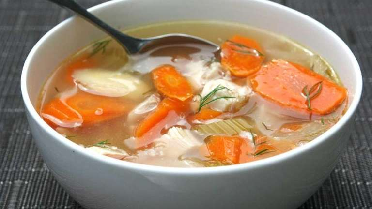 Slow Cooker Chicken Soup made with chicken thighs