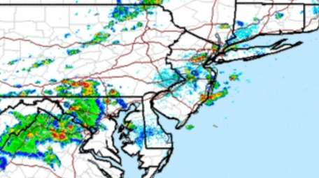 A National Weather Service radar image from Sunday.