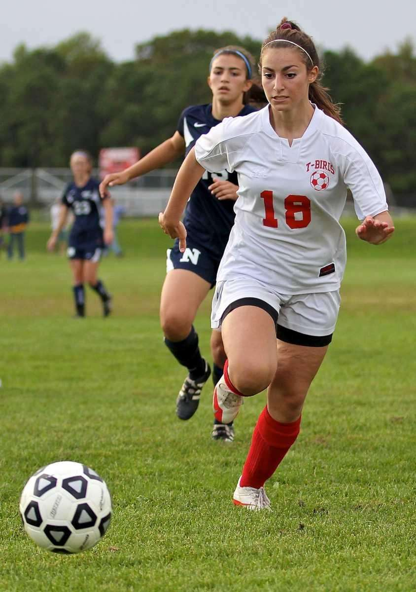 Connetquot's Dana Badala #18 goes for the loose