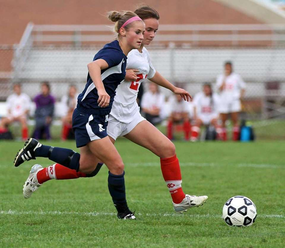 Northport's Kelsey Kearns #2 and Connetquot's Teddi Petre