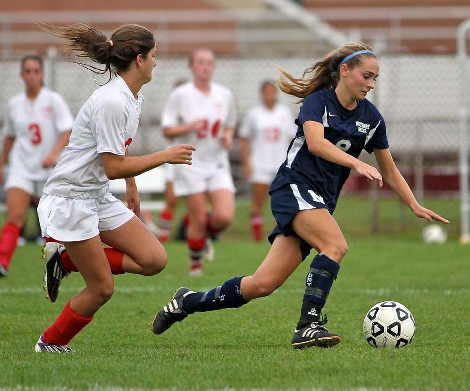 Northport forward Kristi Abbate #9 moves the ball
