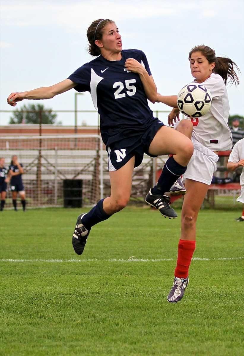 Northport defender Sara Ronde #25 goes up high