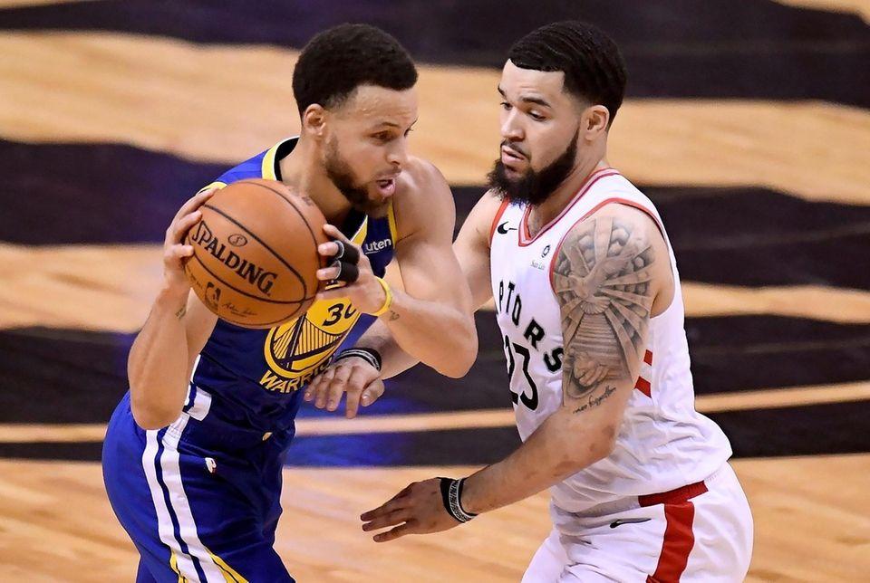 Toronto Raptors guard Fred VanVleet (23) looks on