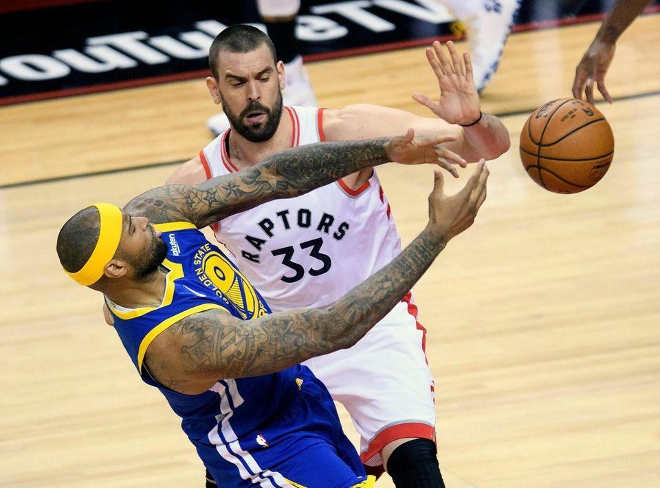 Toronto Raptors centerMarc Gasol (33) battles for the