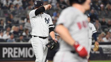 New York Yankees relief pitcher Luis Cessa reacts