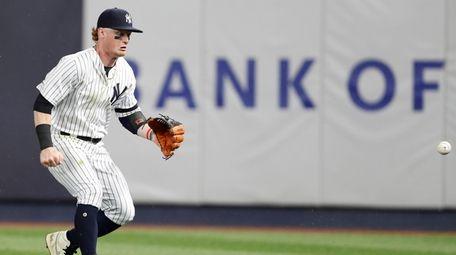 Yankees rightfielder Clint Frazier plays Michael Chavis' single
