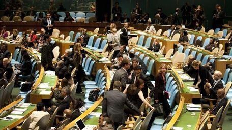 Delegates walk out as Mahmoud Ahmadinejad, President of