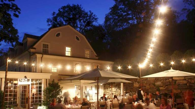 A view of the outdoor dining patio of