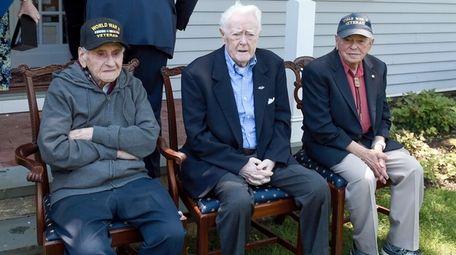 From left, World War II veterans Irving Goodman,