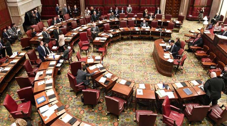 The State Senate chamber in Albany in March.