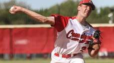 Connetquot starting pitcher Joe Savino throws to the