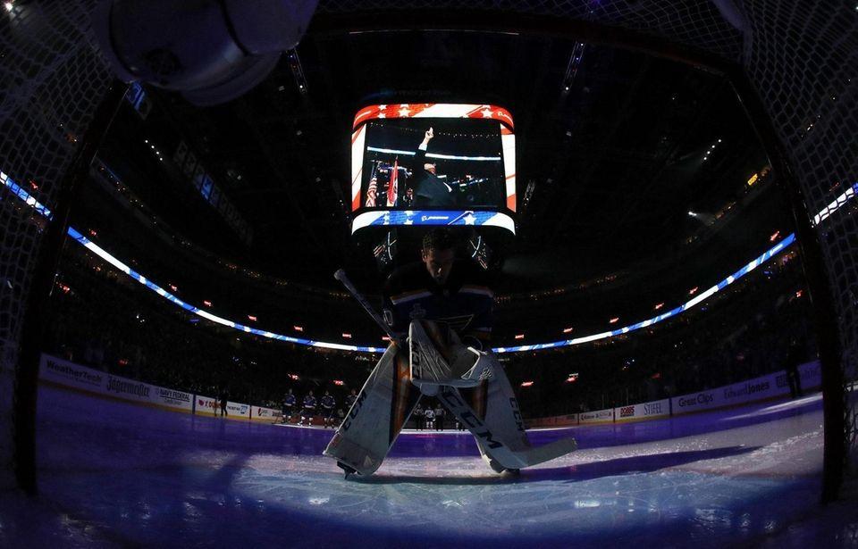 Jordan Binnington #50 of the St. Louis Blues