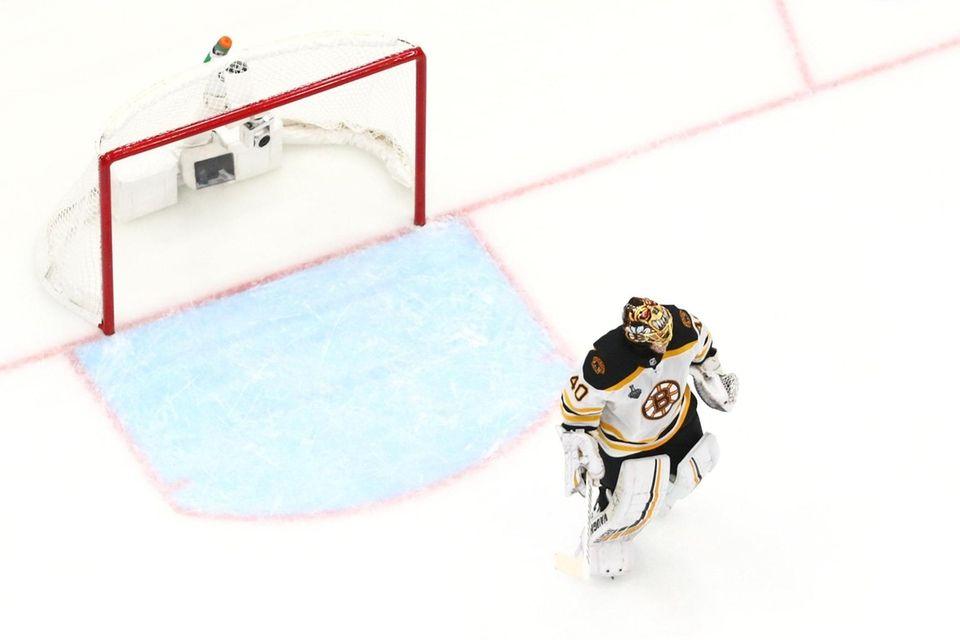Tuukka Rask #40 of the Boston Bruins looks