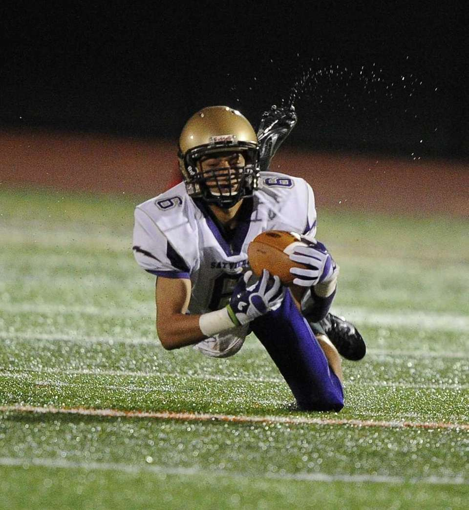 Sayville wide receiver Jake Sichenzia completes the reception