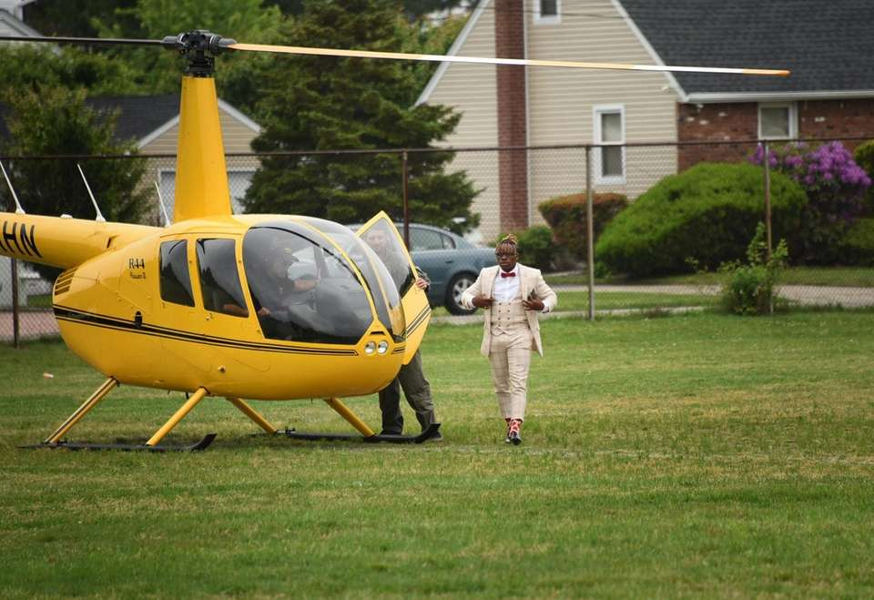 Eric Dennis, 18, arrived in a helicopter to
