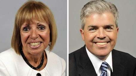 Suffolk County Executive candidates Angie Carpenter, left, and
