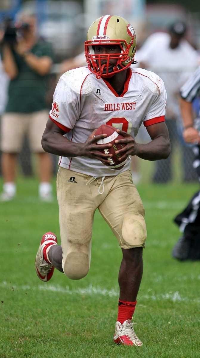 Hills West quarterback Devante McFarlene #2. (Sept. 24,