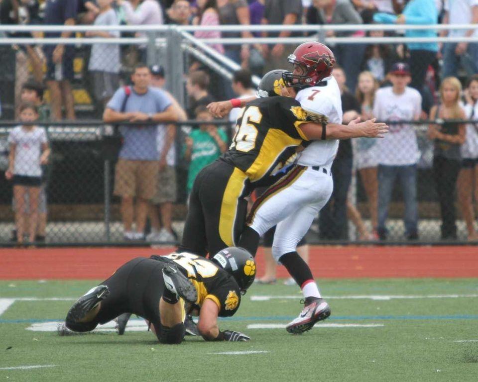 Sachem East quarterback Anthony Riggi passes the ball