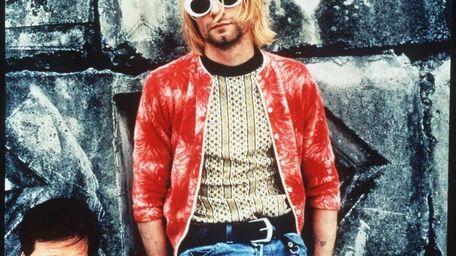 Kurt Cobain, center, with the band.