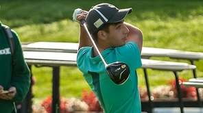 Shane DeVincenzo hits during the Suffolk boys golf