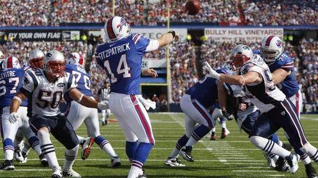 Buffalo Bills' Ryan Fitzpatrick throws against the New