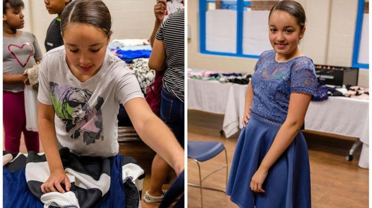 Hailene, 11, chose a blue dress with lace