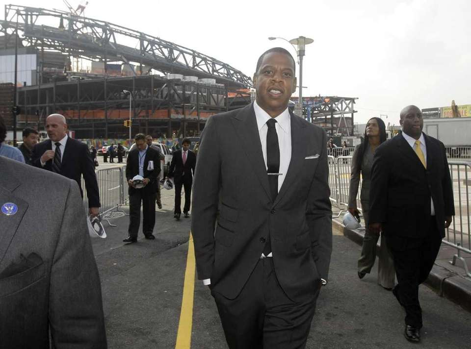 Nets part-owner Jay Z strolls down a closed-off