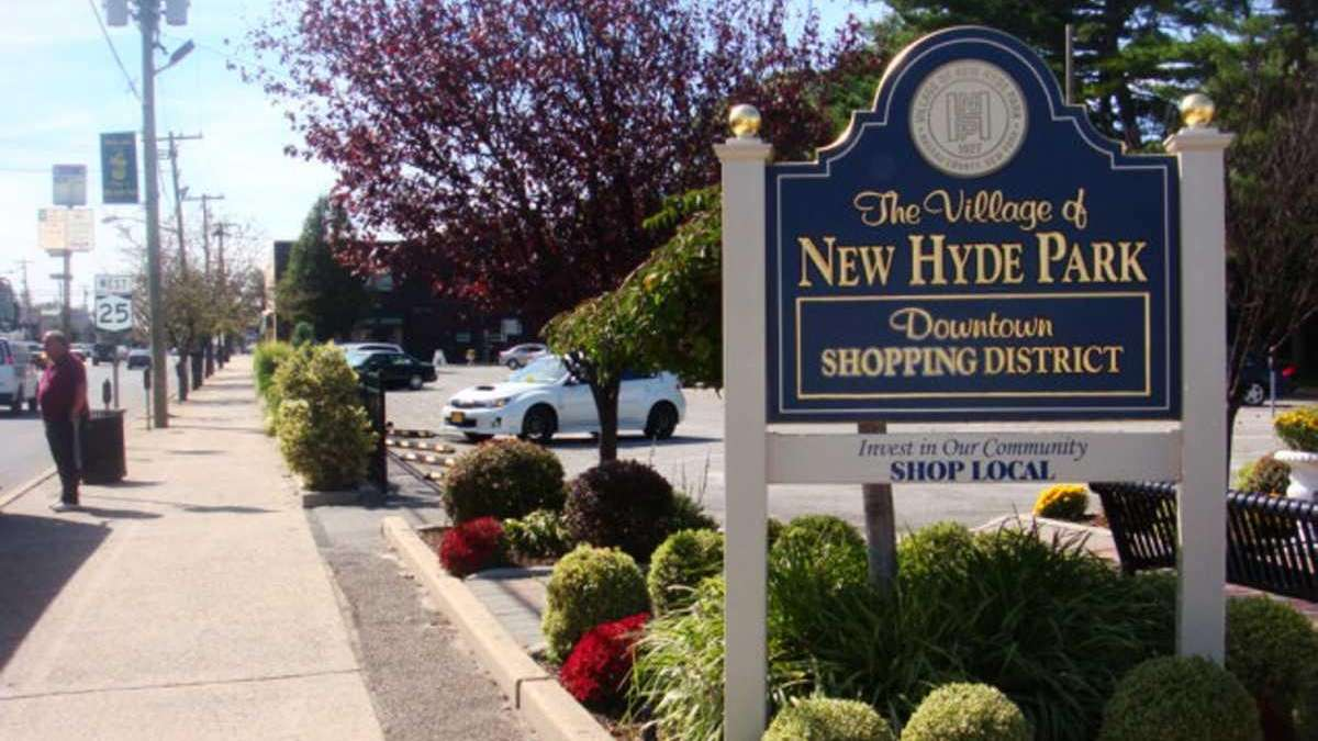 Downtown shopping district in New Hyde Park along