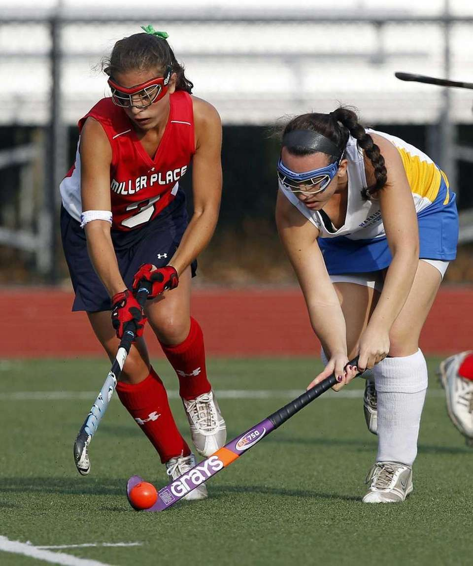 Miller Place's Heather Ercolano (3) and Comsewogue's Erin