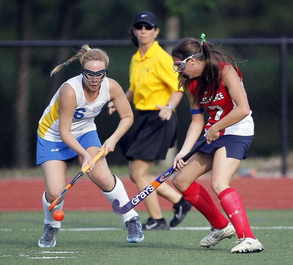 Comsewogue's Amanda Sehres (16) and Miller Place's Alex