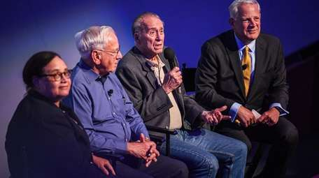 From left, Newsday columnist Joye Brown, retired NASA