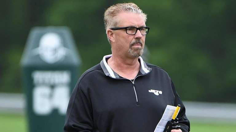 Jets defensive coordinator Gregg Williams during an OTA