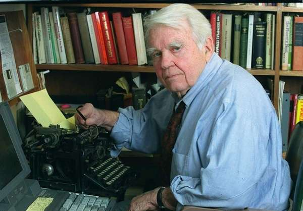 Andy Rooney in his CBS office (Dec. 12,