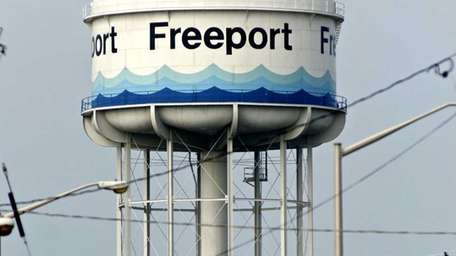 The famous Freeport water tower, as seen from