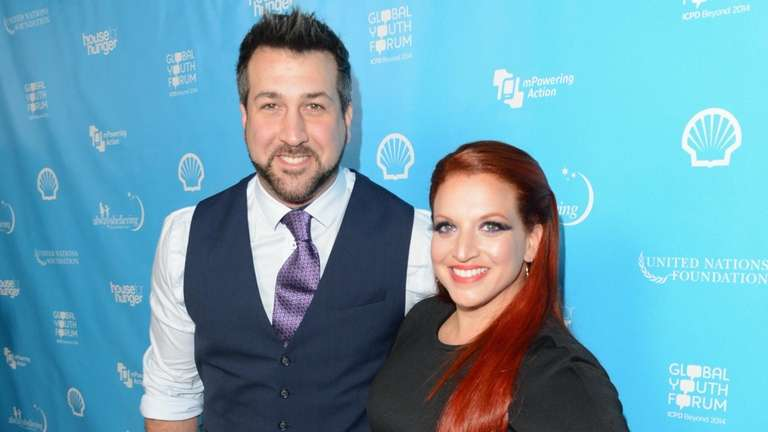 Joey Fatone and Kelly Baldwin attend an event